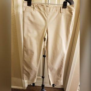 Beige Slim Ankle Length Pants
